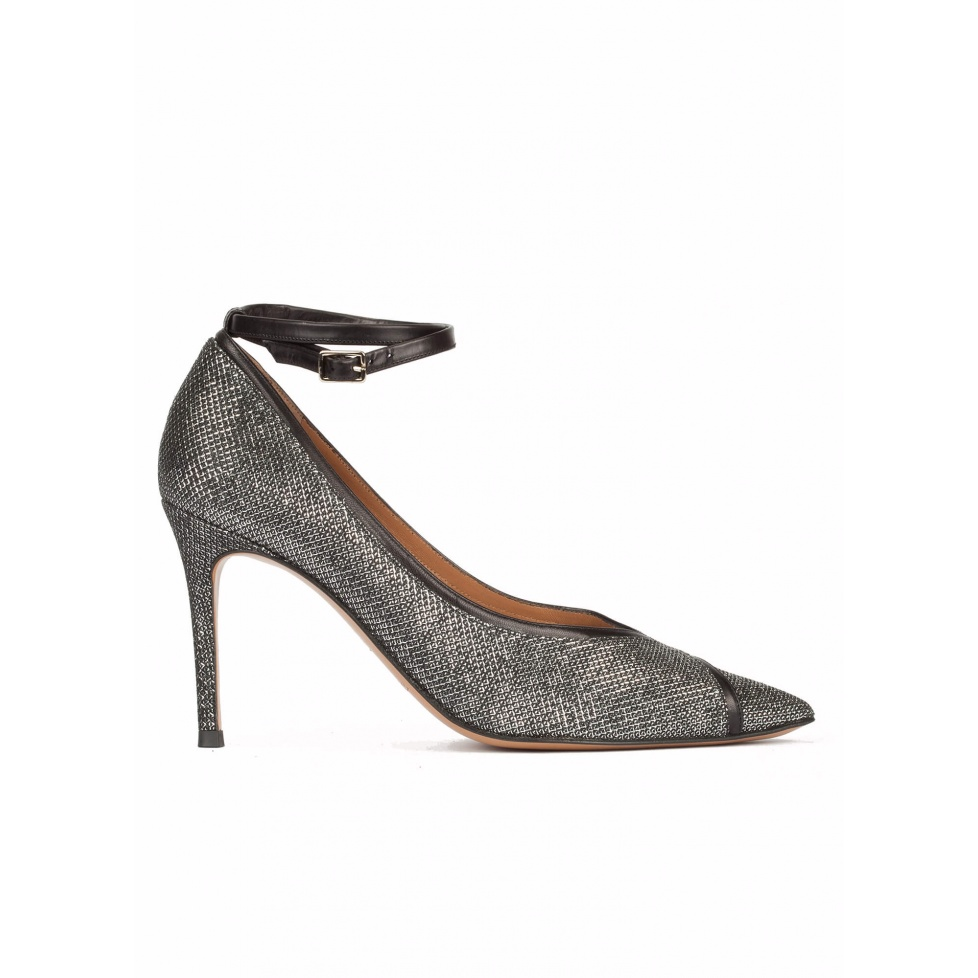 Metallic pointy toe pumps with double ankle strap