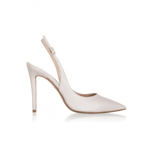 High heel pumps in oatmeal pink leather Pura L�pez