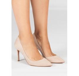 Zapatos con tacón de 9 cms en ante nude Pura López