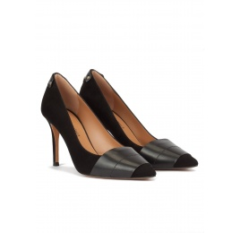 Black suede and leather pointy toe heeled pumps Pura López