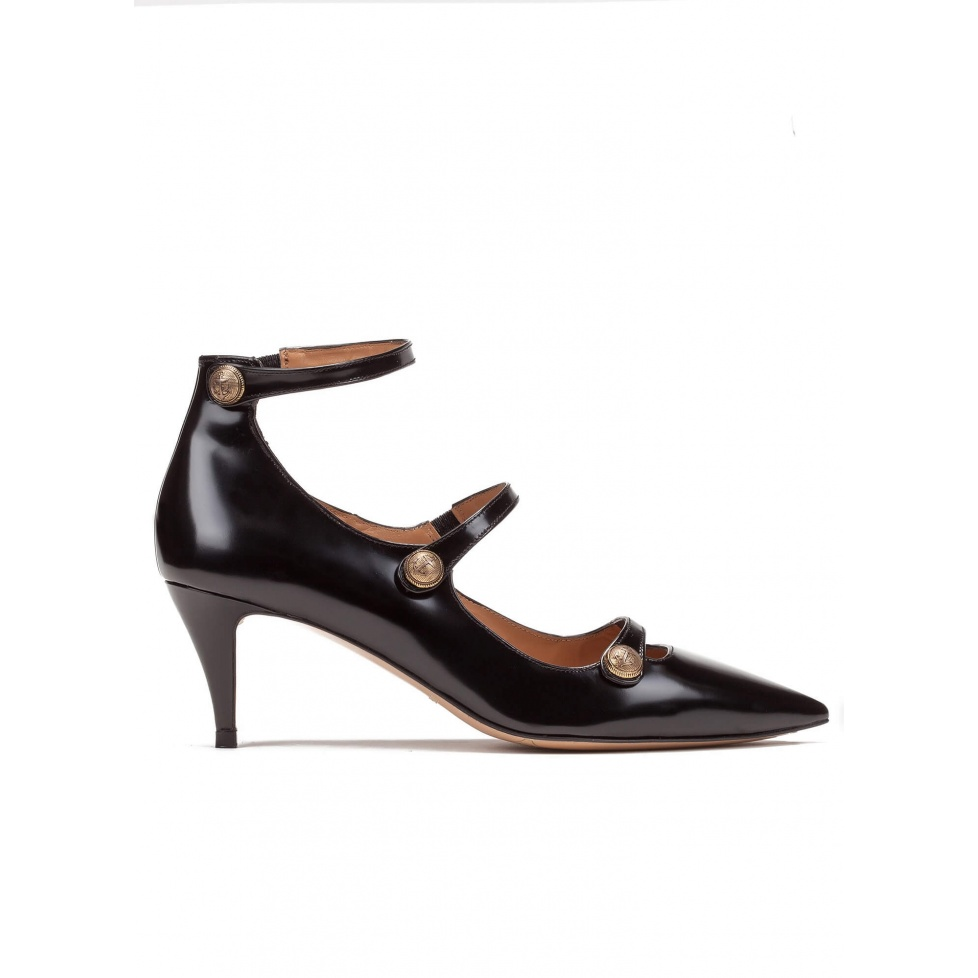 Button detailed ankle strap mid heel shoes in black leather