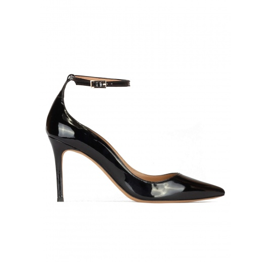Black patent leather ankle strap high heel pointed toe shoes Pura López