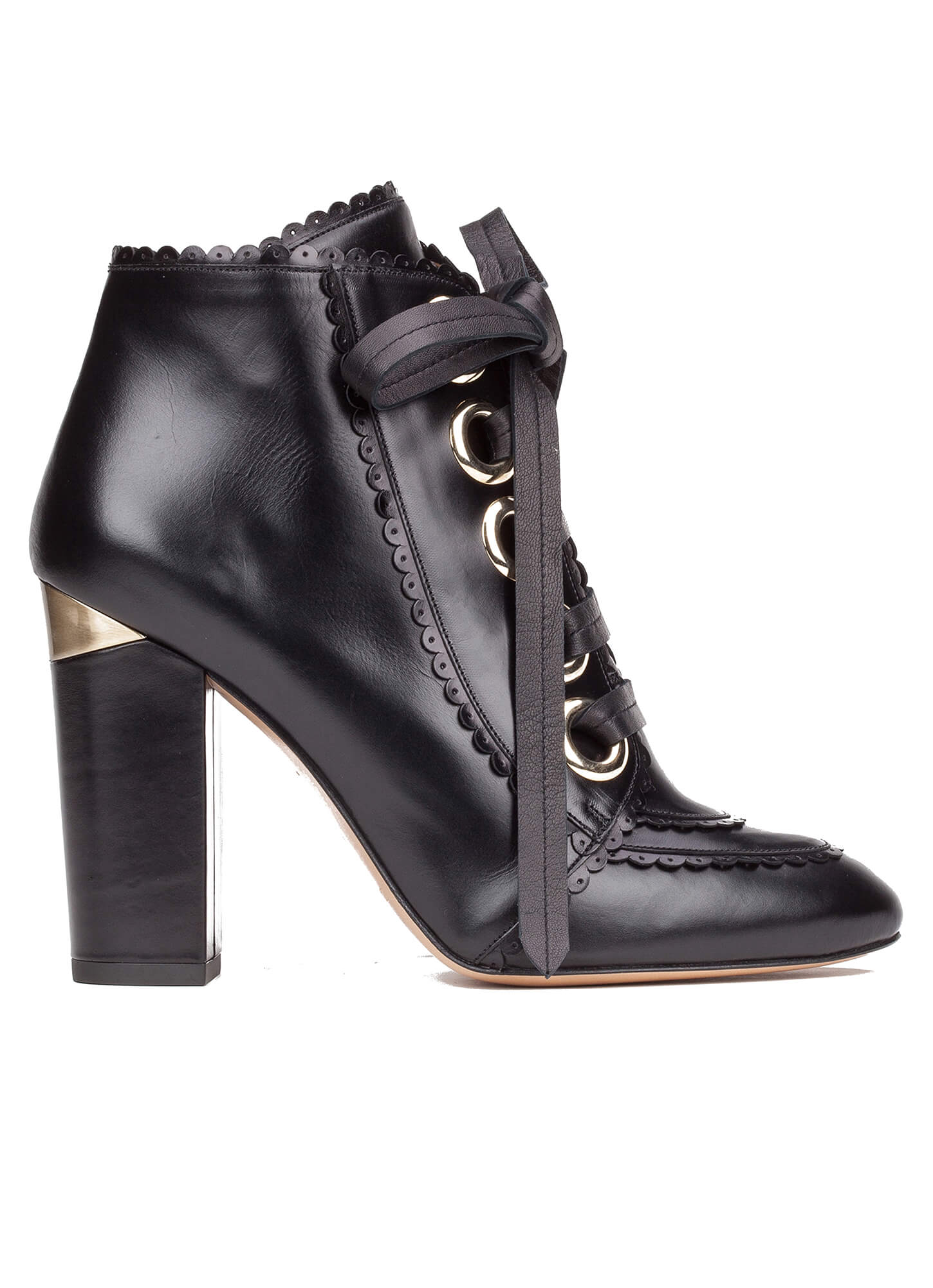 183e93129abe9 ... online shoe store Pura Lopez. Lucie Pura López. Lace-up high block heel  ankle boots in black leather ...