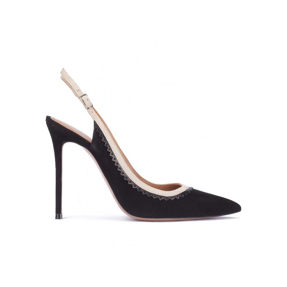 Black heeled slingback pumps