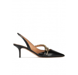 Slingback mid heel pumps in black leather Pura López