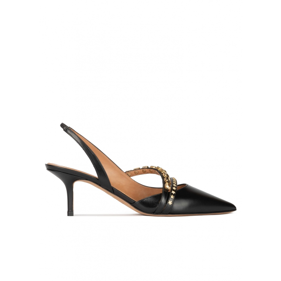 Slingback mid heel pumps in black leather