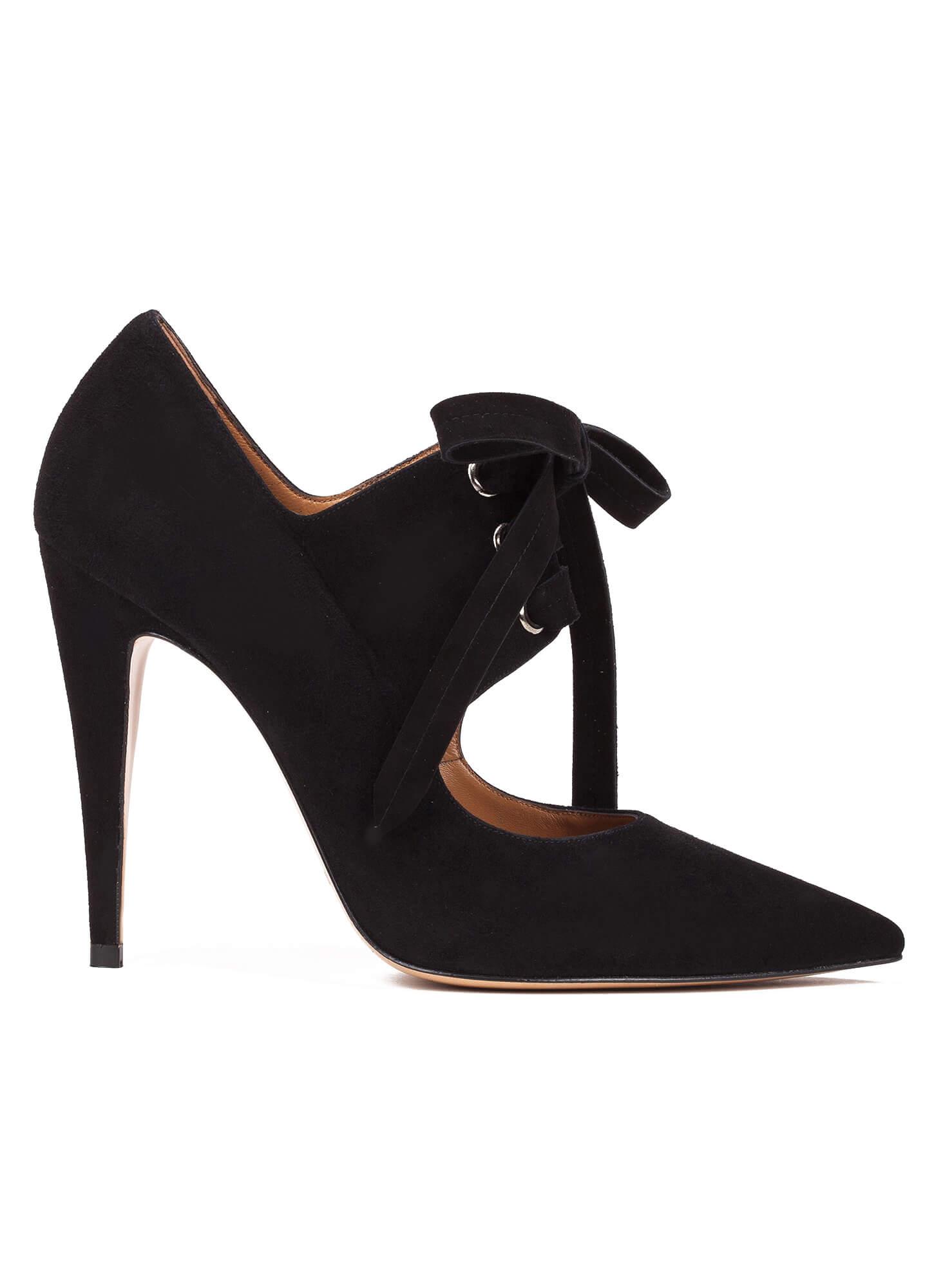 a745fd19bdcf ... online shoe store Pura Lopez. Lacy Pura López. Lace-up high heel shoes  in black suede ...