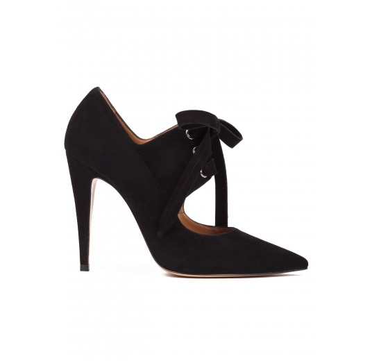 Lace-up high heel shoes in black suede Pura L�pez