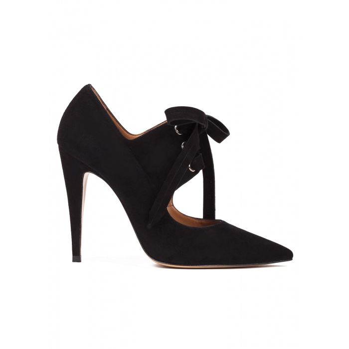 Lace-up high heel shoes in black suede