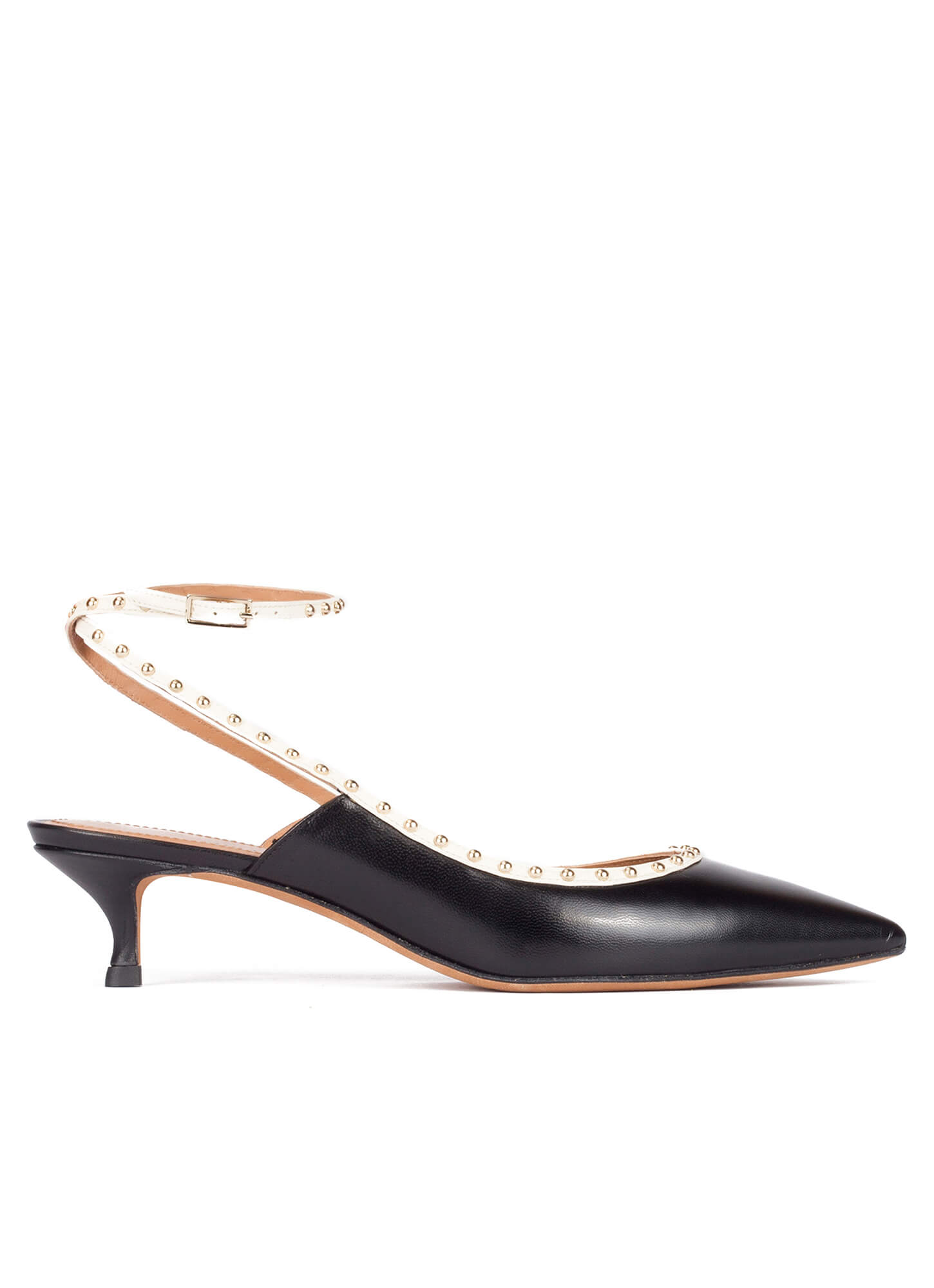 Black leather ankle strap mid heel pointy toe pumps . PURA LOPEZ