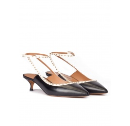Black leather ankle strap mid heel pointy toe pumps Pura López