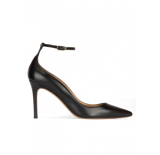 Black leather ankle strap high heel pointy toe shoes Pura López