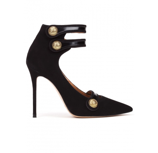 Button detailed high heel shoes in black suede Pura L�pez