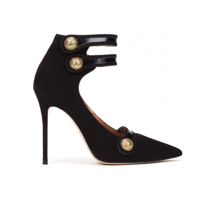 Button detailed high heel shoes in black suede