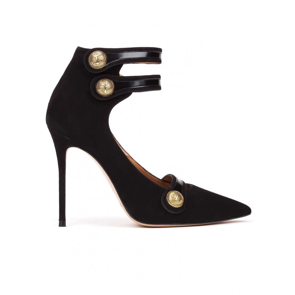 Zapatos de tacón alto en ante negro con botones