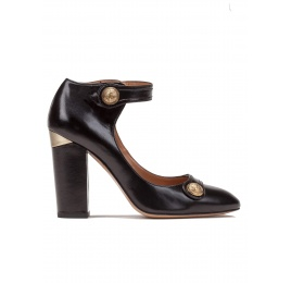 Ankle strap high block heel shoes in black leather Pura López