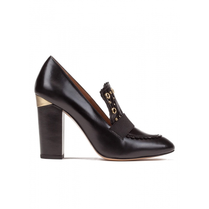 High block heel loafers in black leather