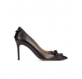 Black leather stiletto heel pointy toe shoes with ruffle details Pura López