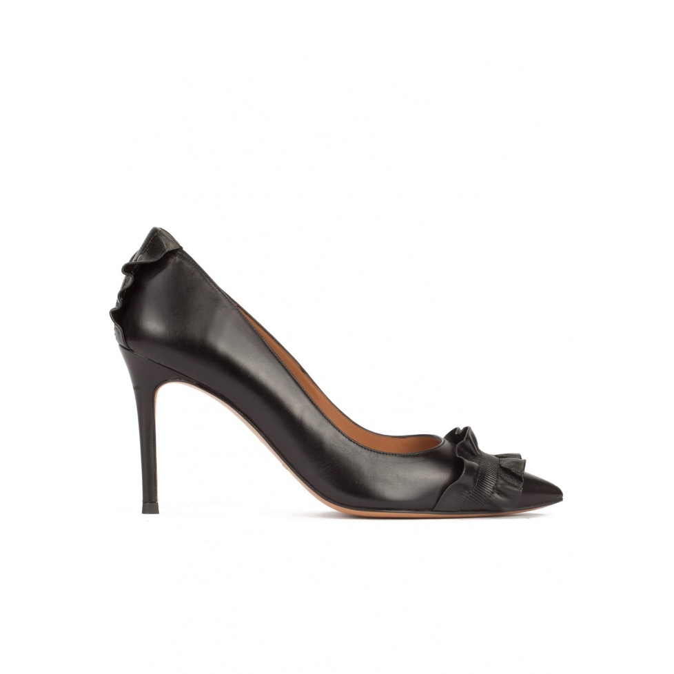 Black leather stiletto heel pointy toe shoes with ruffle details