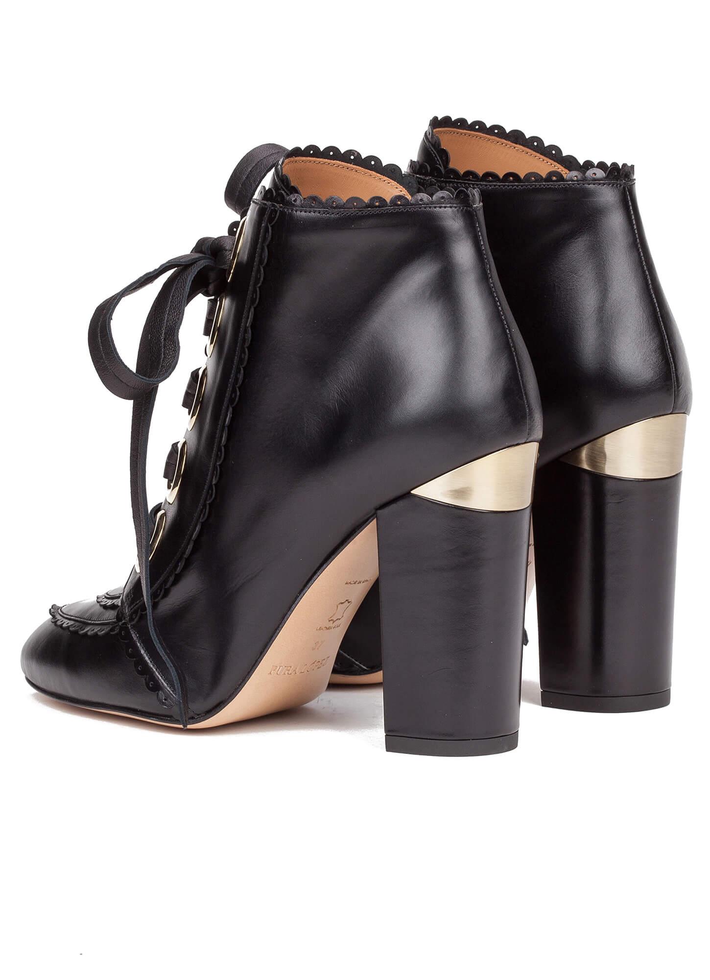 2d3cf1fdc2efd Black lace-up heeled ankle boots - online shoe store Pura Lopez. Lucie Pura  López