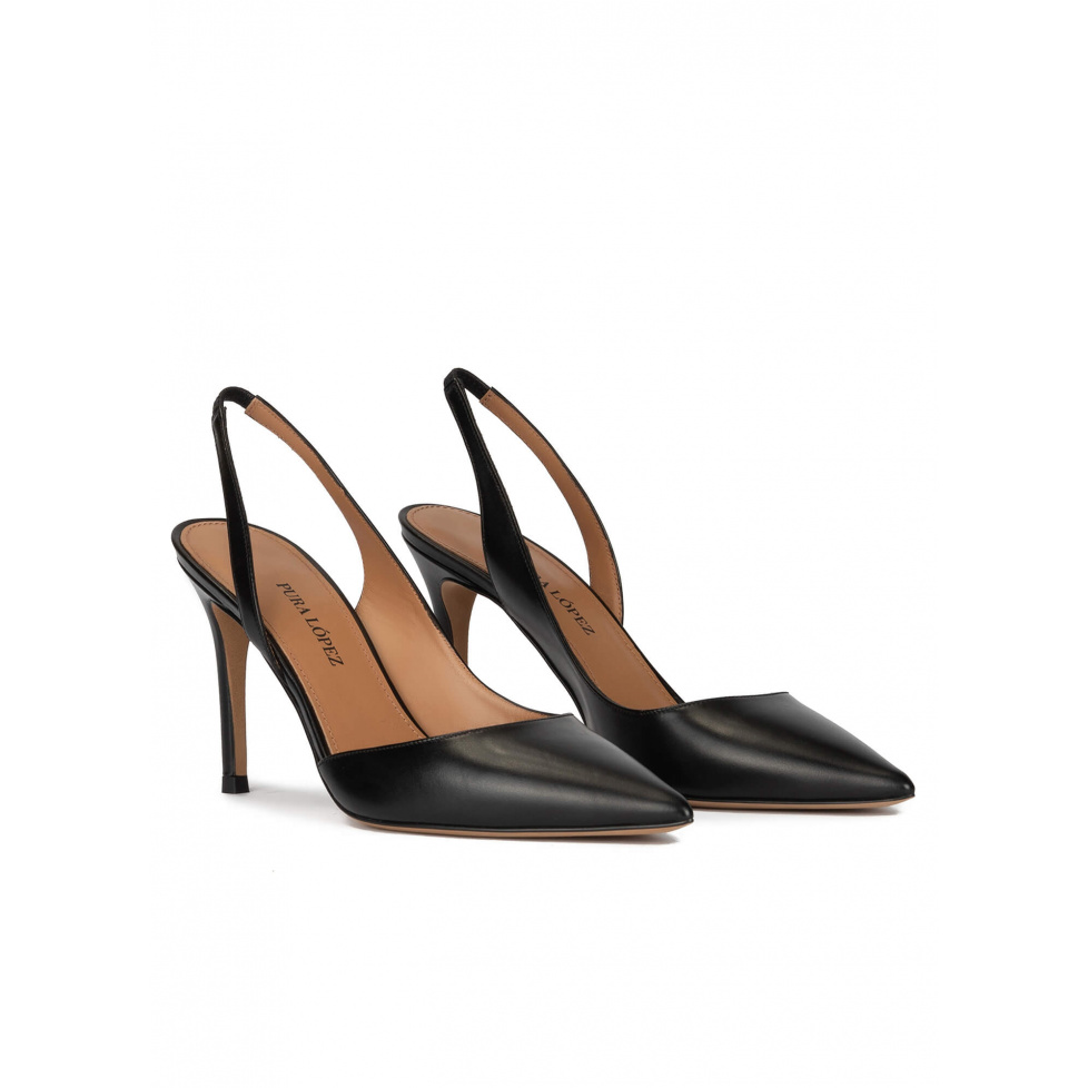 Black leather slingback heeled pumps