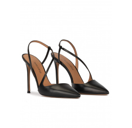 Slingback heeled point-toe pumps in black leather Pura López