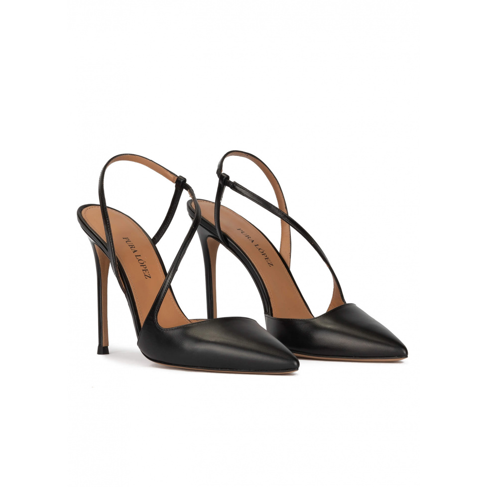 Slingback heeled point-toe pumps in black leather