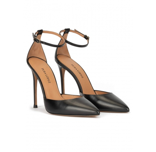Ankle strap high heel pumps in black leather Pura López