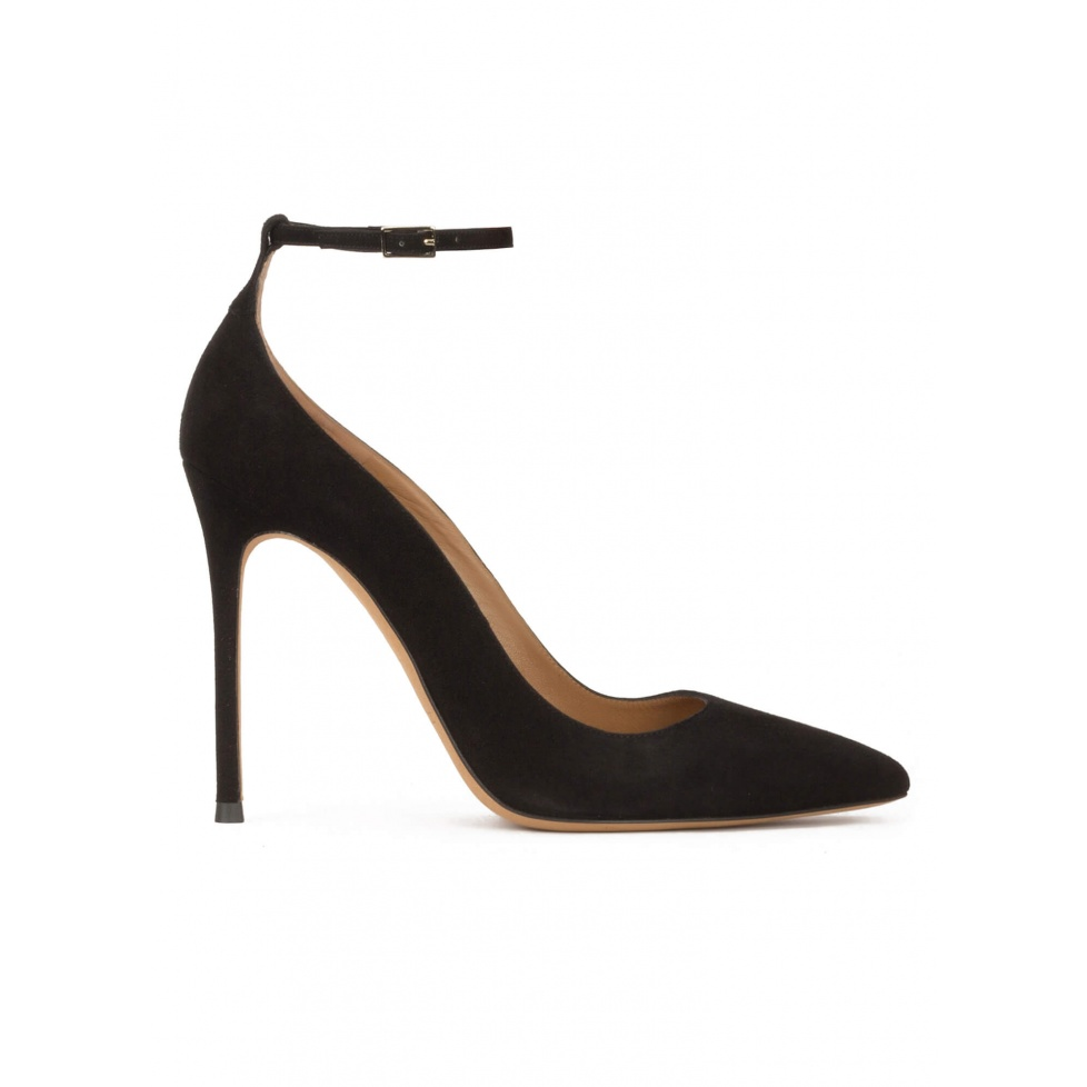 Ankle strap heeled point-toe shoes in black suede