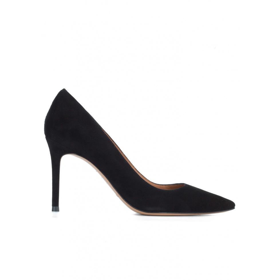 Zapatos negros de tacón en ante