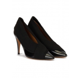 Black high heel point-toe shoes in leather with matching fabric Pura López