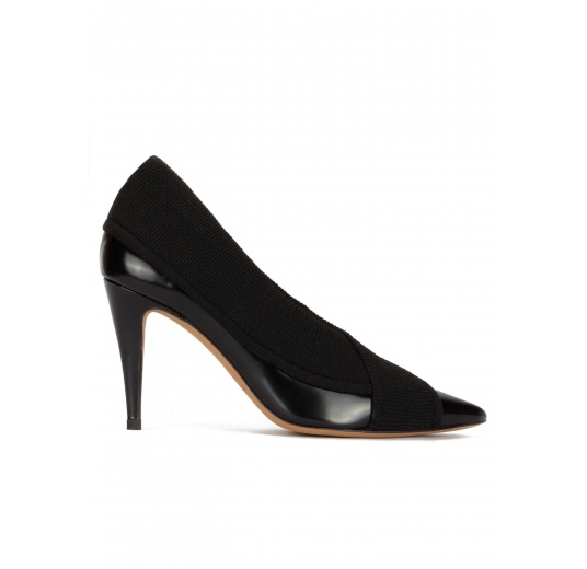 Black high heel point-toe shoes in leather with matching fabric Pura L�pez