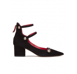 Mid heel shoes in black suede with buttons Pura López