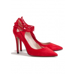Lace up high heel pumps in red suede Pura López