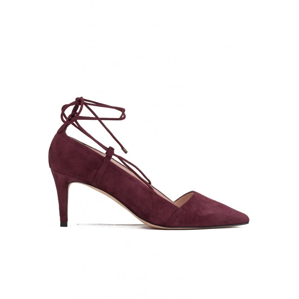Zapatos de salón con tacón medio en ante burdeos