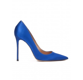 High heel pumps in royal blue satin Pura López