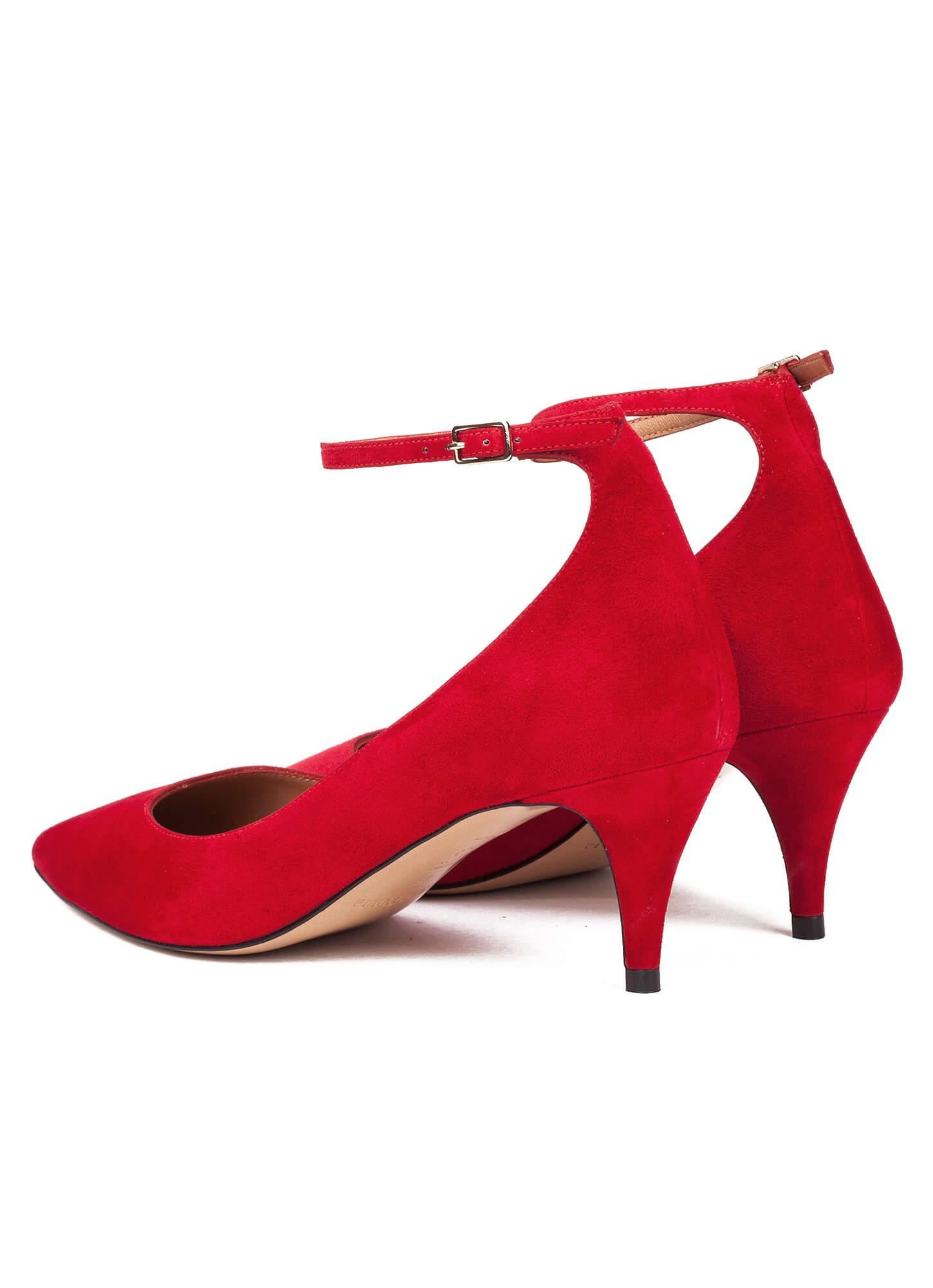 9974fea73785 ... suede Red ankle strap mid heel pumps - online shoe store Pura Lopez  Linda Pura López