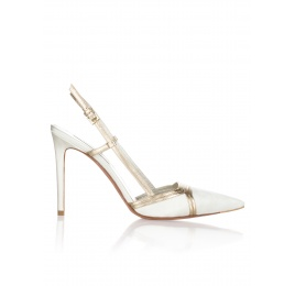 High heel bridal shoes in offwhite satin and gold leather Pura López
