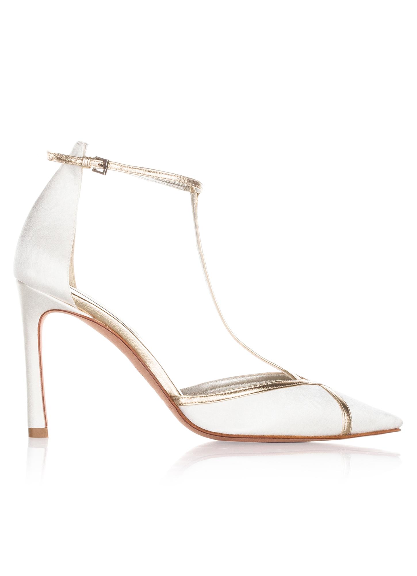 Zapatos de novia de tacón alto en raso blanco y piel dorada Zapatos de  novia Pura López ...
