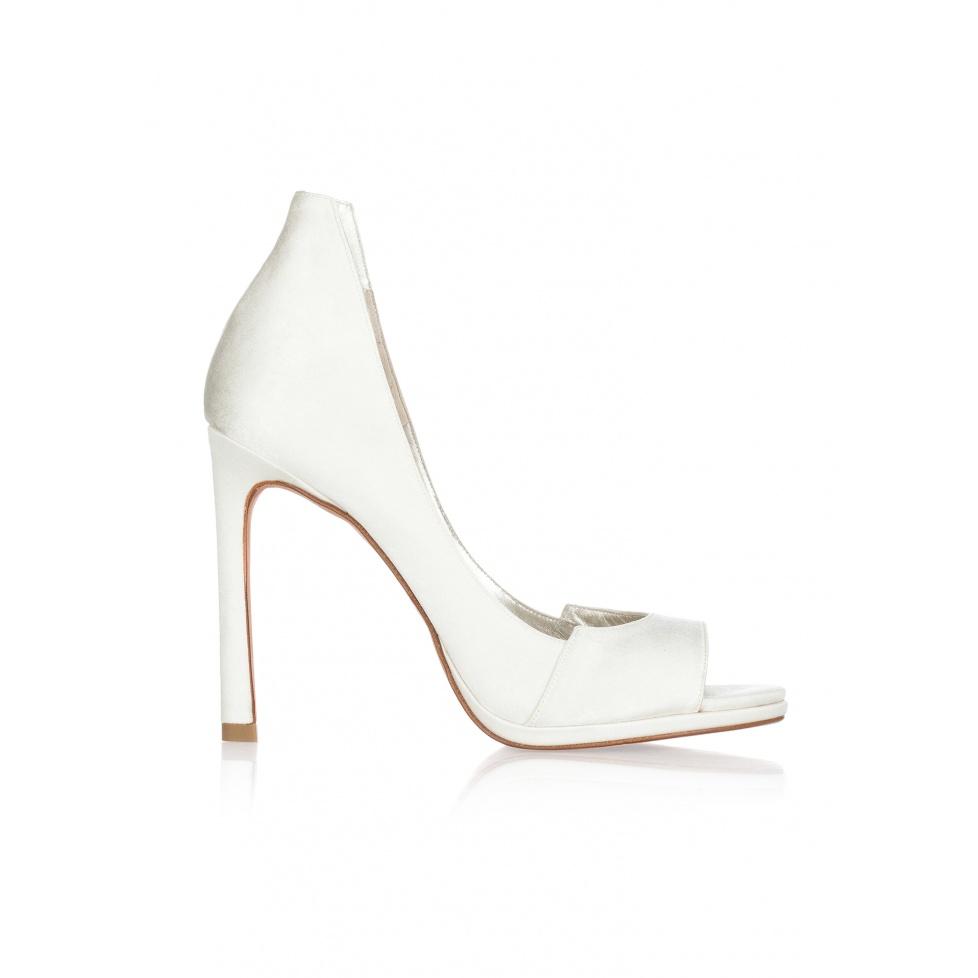 High heel bridal peep toes in offwhite satin