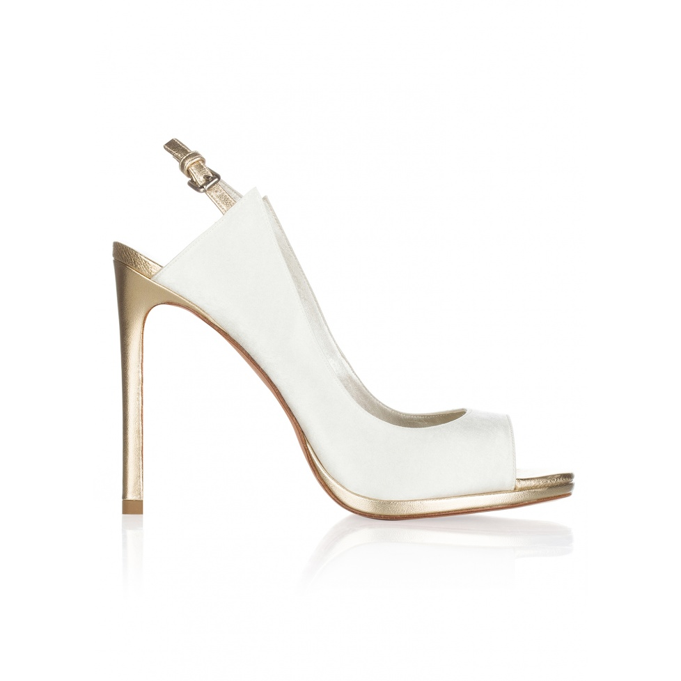 High heel bridal peep toes in offwhite satin