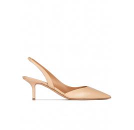 Zapatos destalonados de punta fina con tacón medio en piel beige Pura López