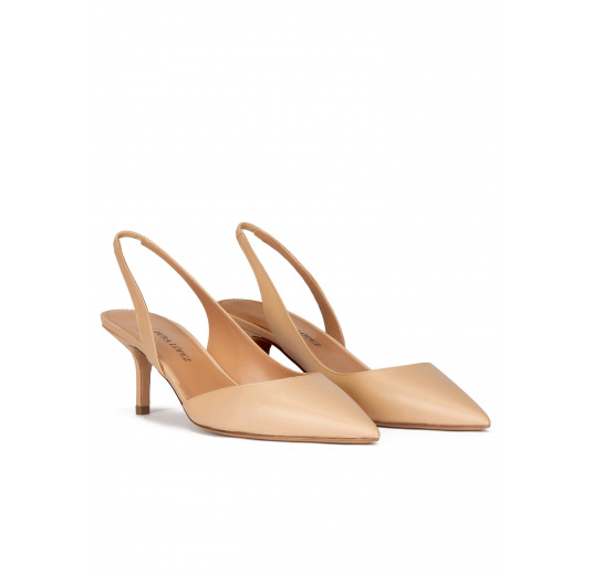 Slingback mid heel pumps in beige leather Pura López