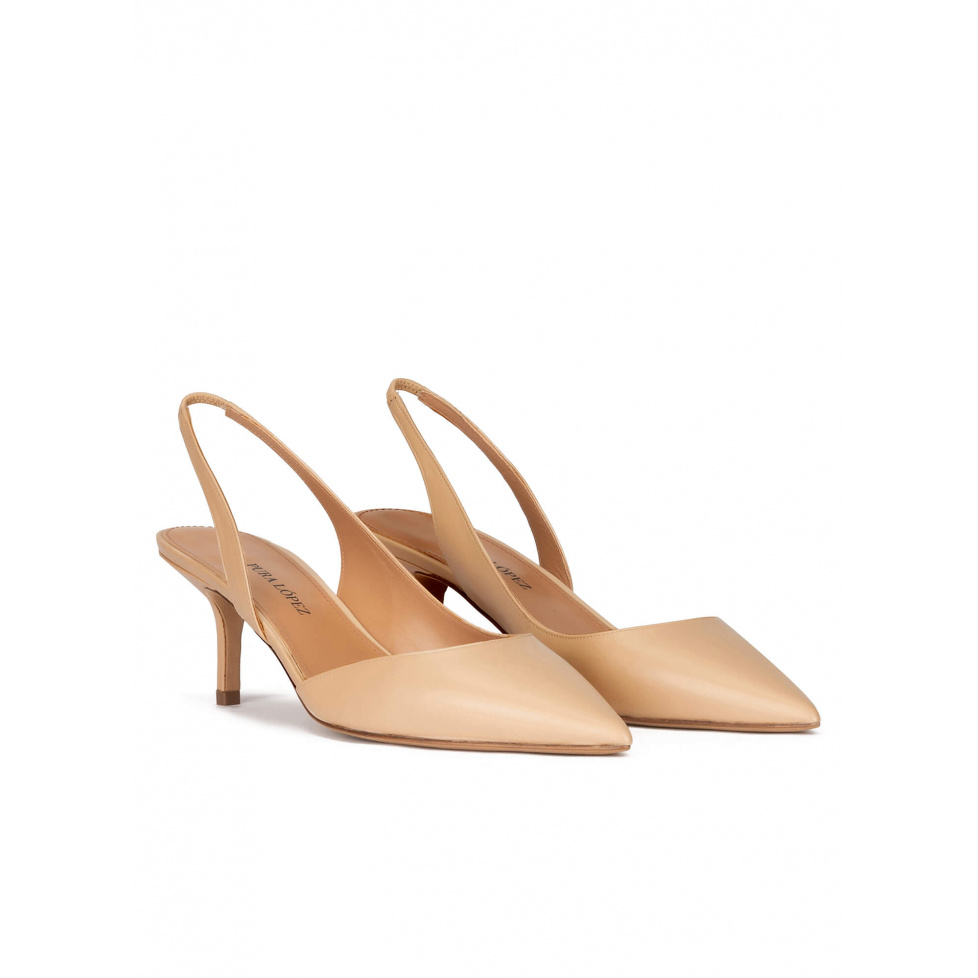 Slingback mid heel pumps in beige leather