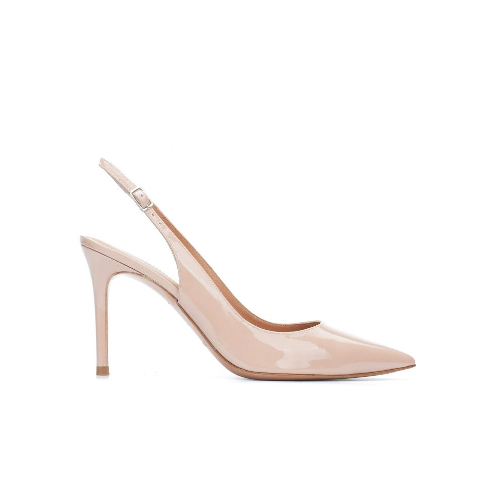 Nude patent leather slingback pointy toe pumps