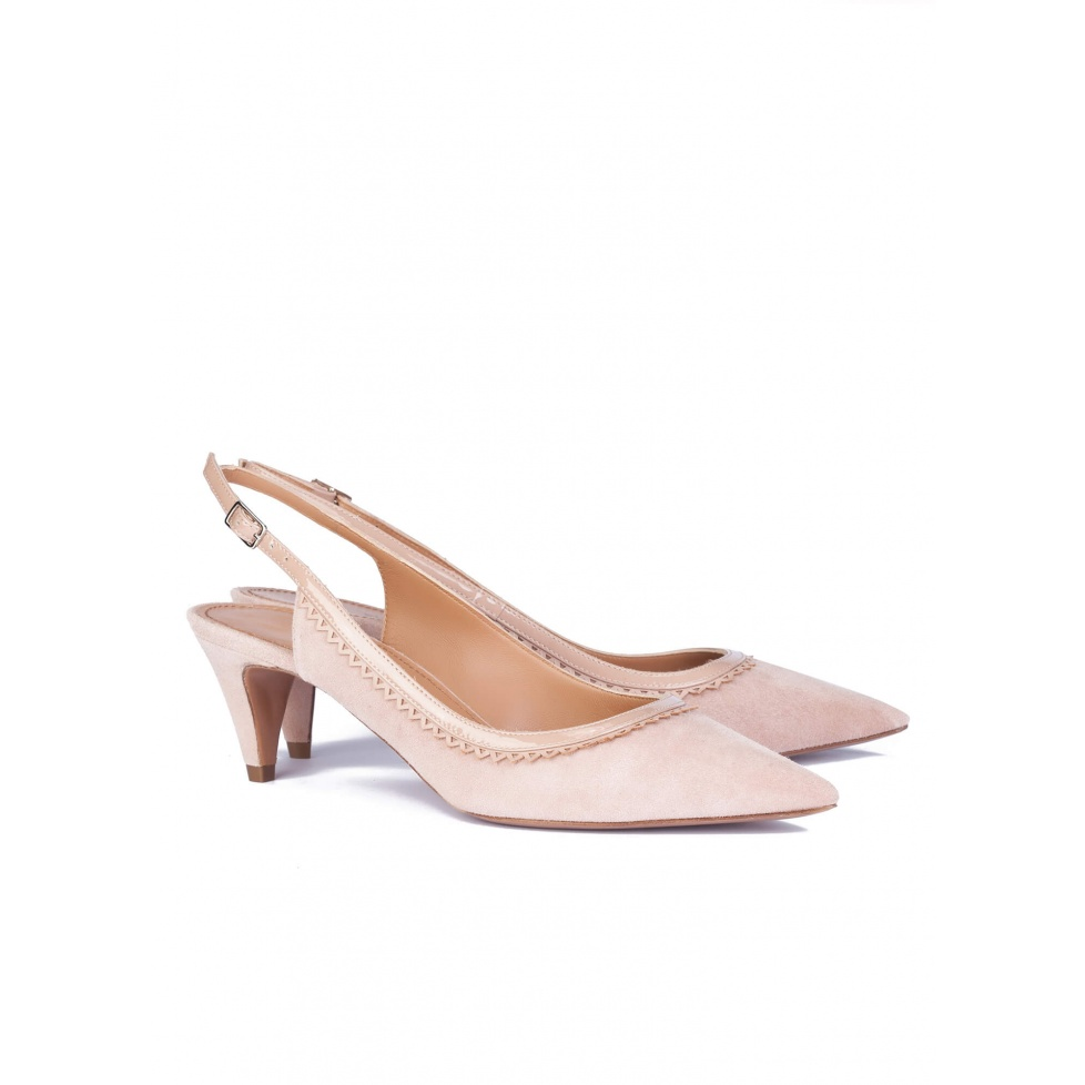 Heeled pumps in nude leather - online shoe store Pura Lopez