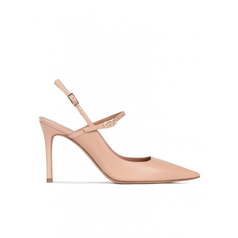 Nude leather slingback high heel pumps