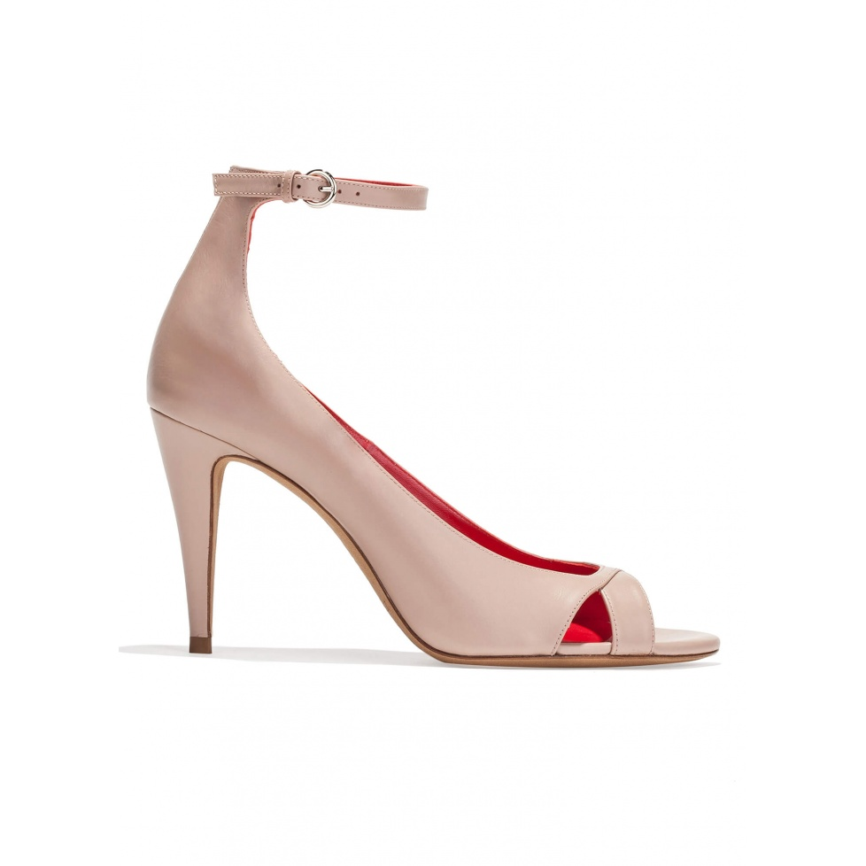 Ankle strap high heel sandals in nude leather
