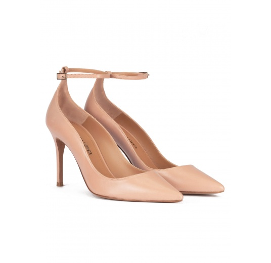 Ankle strap high heel point-toe shoes in nude leather Pura L�pez