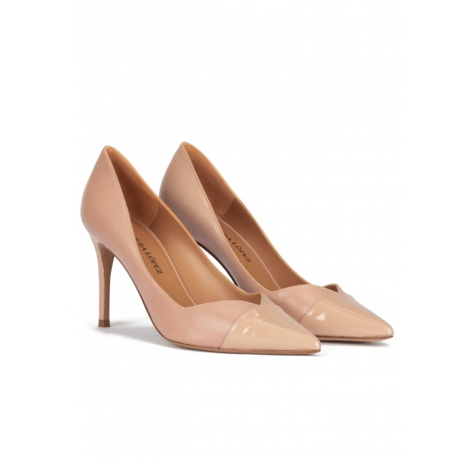 Stiletto heel point-toe pumps in nude leather and patent Pura L�pez